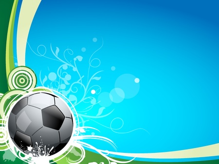 ecard: A soccer sport ball on a blue and green background, with floral lines and swirls. Great for a sport card or postcard