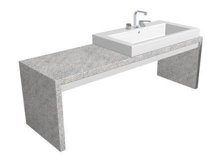 White square sink with chrome faucet, sitting on a granite table, isolated against a white background photo
