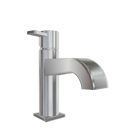 Modern faucet with chrome or stainless steel finishing, 3d illustration, isolated against a white background. Kitchen fixtures. Stok Fotoğraf