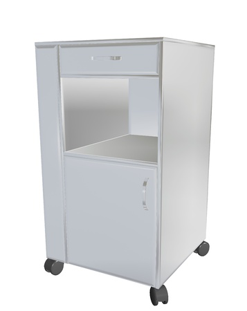 Stainless steel mobile cupboard, 3d illustration, for medical use, isolated against a white background illustration