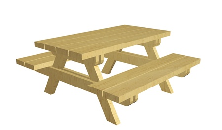 table: Wooden picnic table, 3d illustration, isolated against a white background
