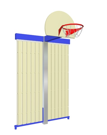 backing: Red, blue and beige wall-mounted basketball goal with protective backing, isolated against a white background