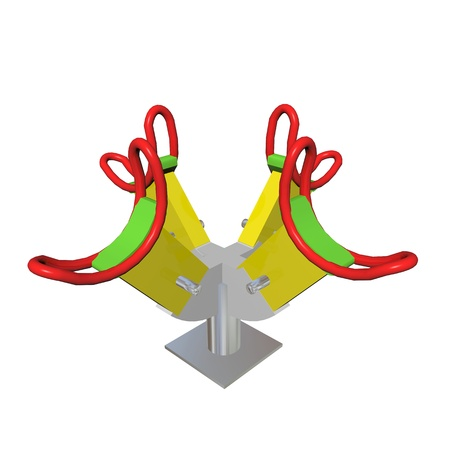 Red, green and yellow four-person children see-saw, 3D illustration, isolated against a white background illustration