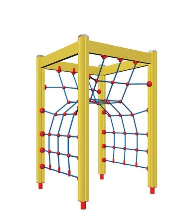 Geel, blauw en rood vierpolige kinderen touw klimmer, 3D-illustratie, geïsoleerd tegen een witte achtergrond Stockfoto