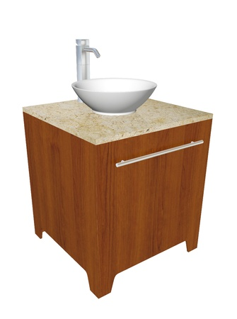 prefabricated: Modern bathroom sink set with ceramic or acrylic wash bowl, chrome fixtures, and wooden cabinet with granite counter, 3d illustration, isolated against a white background.