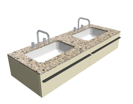 granite counter: Modern washroom sink set with granite counter and chrome fixtures, 3d illustration, isolated against a white background Stock Photo