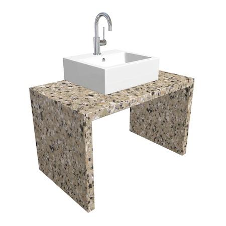 chrome base: Lavandino del bagno moderno situato con lavabo in ceramica o acrilico, infissi cromo, e base di marmo, illustrazione 3D, isolato su uno sfondo bianco Archivio Fotografico