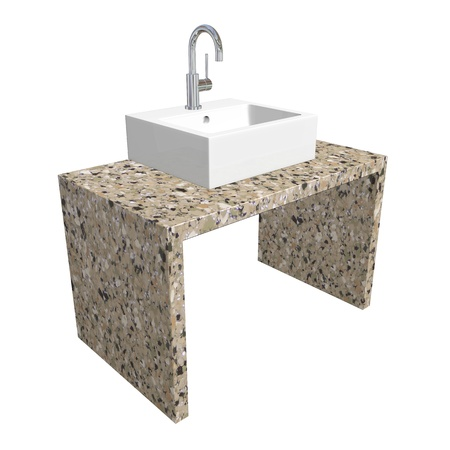 chrome base: Modern bathroom sink set with ceramic or acrylic wash basin, chrome fixtures, and marble base, 3d illustration, isolated against a white background