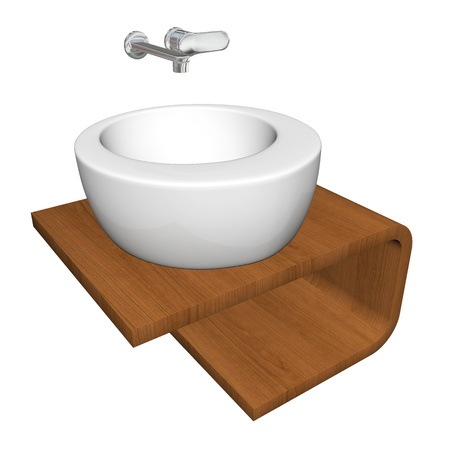 Modern bathroom sink set with ceramic or acrylic wash bowl, chrome fixtures, and wooden base, 3d illustration, isolated against a white background Stock Photo