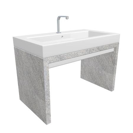 chrome base: Lavabo bagno moderno situato con lavabo in ceramica o acrilico, infissi cromo e base in granito, illustrazione 3D, isolato su uno sfondo bianco