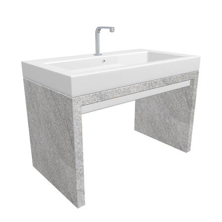 chrome base: Modern washroom sink set with ceramic or acrylic wash basin, chrome fixtures, and granite base, 3d illustration, isolated against a white background Stock Photo