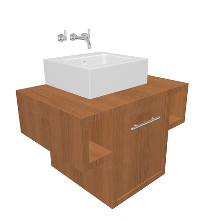 basin: Modern bathroom sink set with ceramic wash basin, chrome fixtures, and wooden cabinet, 3d illustration, isolated against a white background