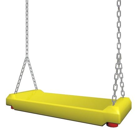 Gele swing opknoping aan een ketting, 3D-afbeelding, geïsoleerd tegen een witte achtergrond