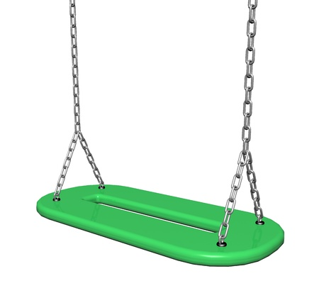 playtime: Green  plastic swing with chains, 3d illustration, isolated against a white background