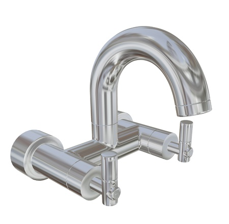 Modern faucet with chrome finishing, 3d illustration, isolated against a white background illustration