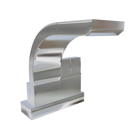 fixtures: Modern square faucet with chrome or stainless steel finishing, 3d illustration, isolated against a white background. Kitchen fixtures.