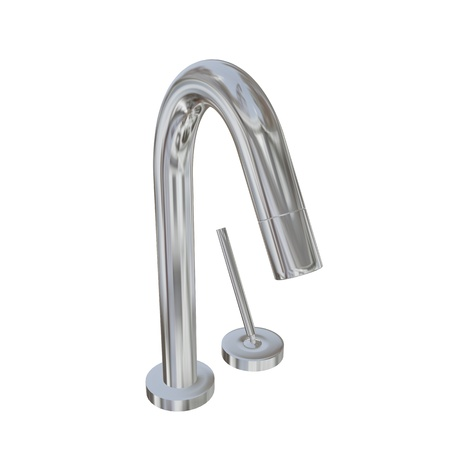 lever: Modern faucet with chrome or stainless steel finishing, with fine lever, 3d illustration, isolated against a white background. Kitchen fixtures.
