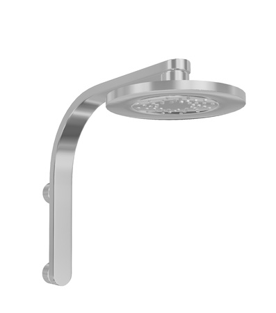 Modern shower head with chrome finish, 3D illustration, isolated against a white background