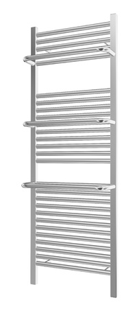 Wall-mounted towel rack with chrome finishing, 3d illustration, isolated against a white background Stok Fotoğraf