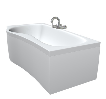 fixtures: Ceramic or acrylc bath tub set with chrome fixtures and faucet, 3d illustration, isolated against a white background