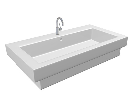 fixtures: Modern ceramic white washroom sink set chrome fixtures, 3d illustration, isolated against a white background