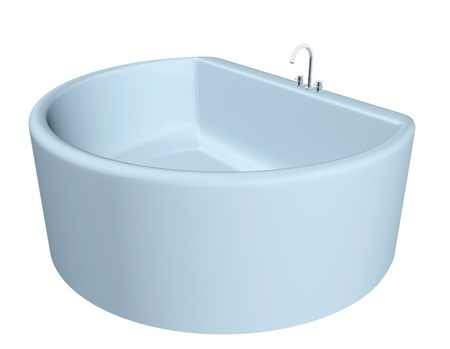 White semi-circular modern bathtub with stainless steel fixtures, isolated against a white background Banco de Imagens