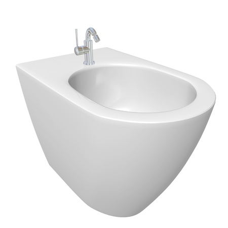 Round bidet design for bathrooms.  3D illustration, isolated against a white background. illustration