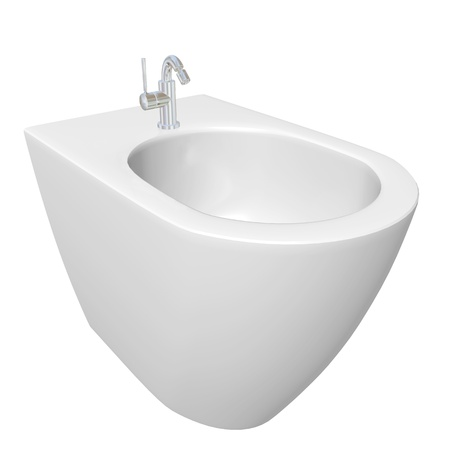 cleanliness: Round bidet design for bathrooms.  3D illustration, isolated against a white background.