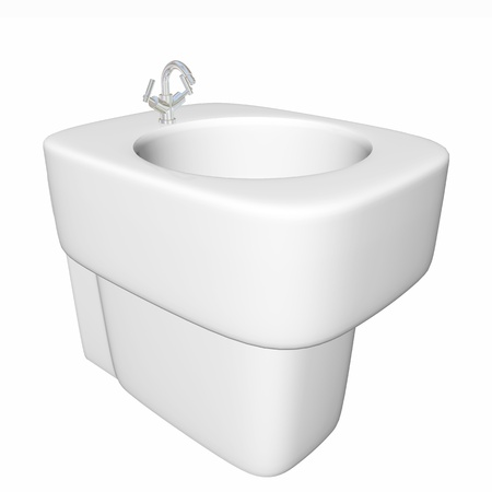Round bidet design for bathrooms. Type of sink intended for washing the genitalia, inner buttocks, and anus. 3D illustration, isolated against a white background. Stock Photo