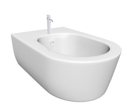 Round bidet design for bathrooms. 3D illustration, isolated against a white background.