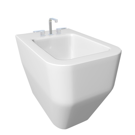 Square bidet design for bathrooms.   3D illustration, isolated against a white background. Stock Photo