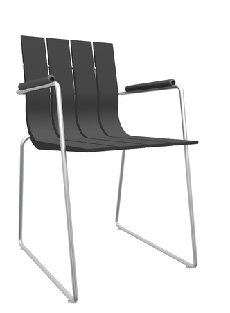 Modern black striped office chair, isolated against a white background.