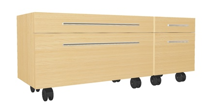 drawers: Bedroom dresser with drawers, on wheels, isolated against a white background
