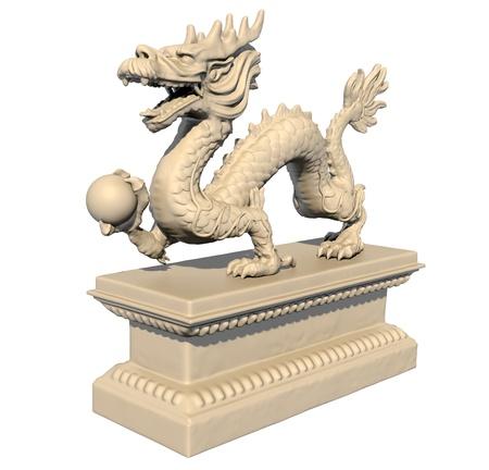 Weiß chinesischen Drachen-Statue mit einem Ball in seinen Klauen, vor einem weißen Hintergrund isoliert. Perspektivische Ansicht 3D-Bild. Standard-Bild - 10695625