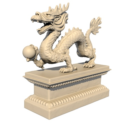 White Chinese dragon statue holding a ball in his claws, isolated against a white background. Perspective view 3D image. Stock Photo