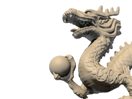 dragon head: White Chinese dragon statue holding a ball in his claws, isolated against a white background. Close-up view 3D image.
