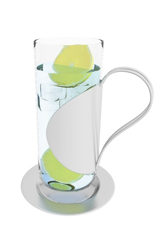 squeezed: Ice cold glass of lemonade, lemon juice or water, 3d illustration, isolated against a white background. In a modern grey stainless steel handle and bottom glass.