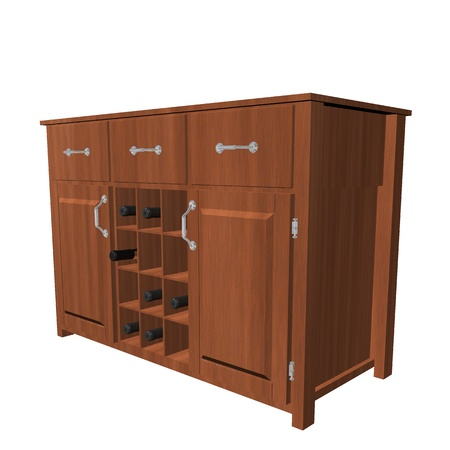 Classic wooden cabinet with wine rack, 3D illustration, isolated against a white background 版權商用圖片