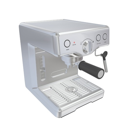 rustproof: Stainless steel espresso coffee machine, 3D illustration, isolated against a white background
