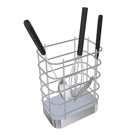 stainless: Stainless steel wire basket rack or holder with frying laddle, spoon laddle, and egg beater, 3D illustration, isolated against a white background