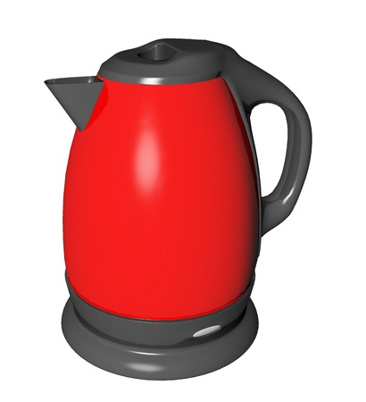 electric tea kettle: Red and black electric tea kettle, 3D illustration, isolated against a white background