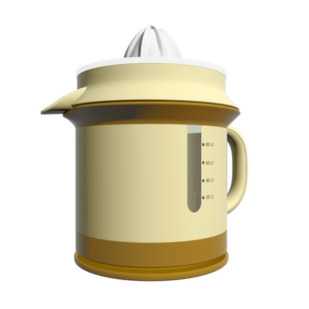 juicer: Combination juicer and pitcher, brown and yellow, plastic, 3D illustration, isolated against a white background