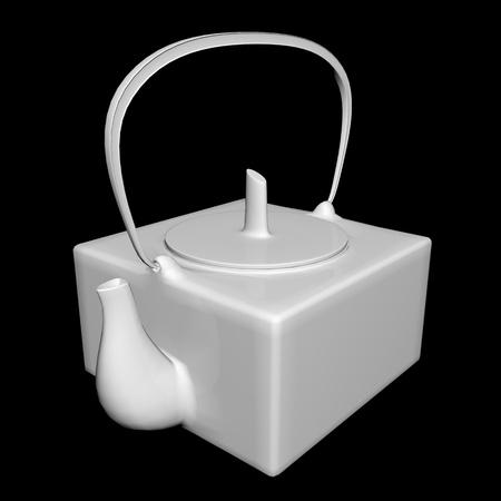 White ceramic tea kettle, 3D illustration, isolated against a black background
