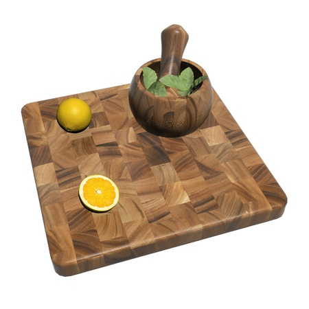 grounding: Square wooden sushi platter with whole and sliced orange and mint leaves on a mortar and pestle, 3d illustration, isolated against a white background Stock Photo