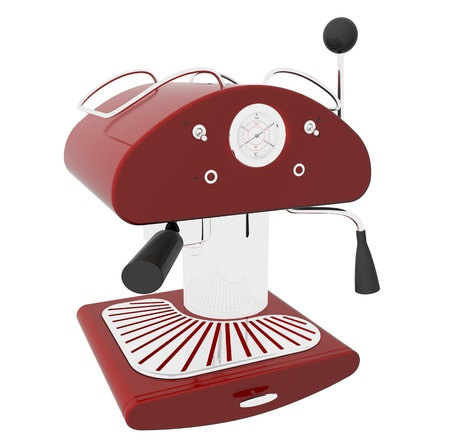 espresso machine: Red and chrome espresso coffee machine, 3D illustration, isolated against a white background