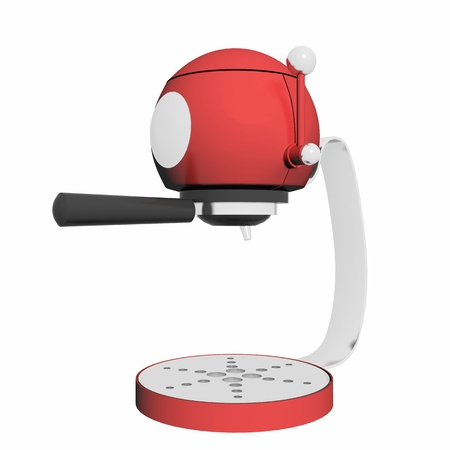 espreso: Red and chrome single espresso coffee machine, 3D illustration, isolated against a white background
