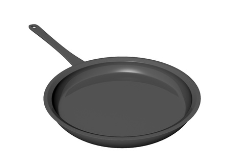 Black  coated shallow frying pan, 3D illustration, isolated against a white background Stok Fotoğraf