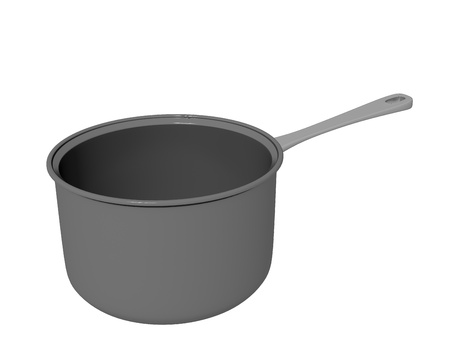 cast iron: Black  coated or cast iron cooking pot, 3D illustration, isolated against a white background Stock Photo