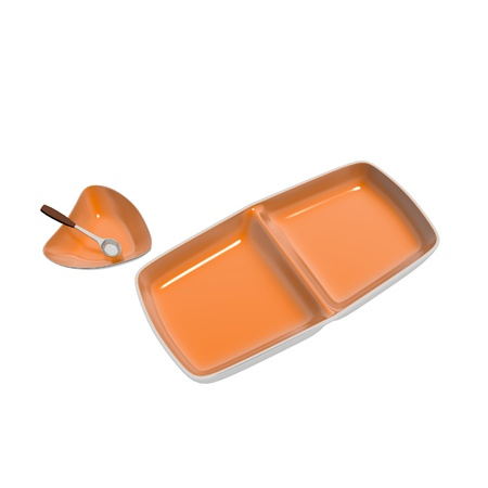 divided: Orange ceramic serving dishes - heart shaped dish with serving spoon and divided rectangular dish, 3D illustration, isolated against a white background