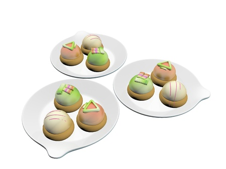 topped: Colorful topped desserts or french macaron served on round ceramic plates, 3d illustration, isolated against a white background Stock Photo